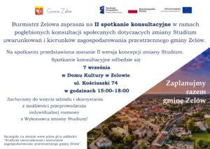 II spotkanie konsultacyjne dotyczące zmiany Studium uwarunkowań i kierunków zagospodarowania przestrzennego gminy Zelów @ Dom Kultury ul. Kościuszki 74